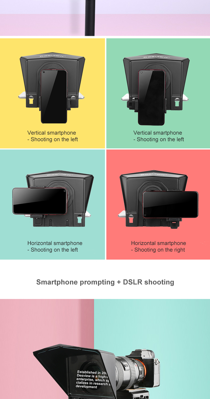 05 Desview Портативный телесуфлер для смартфона  планшета  DSLR камеры для YouTube Интервью Студия Bestview T2 с пультом дистанционного управления
