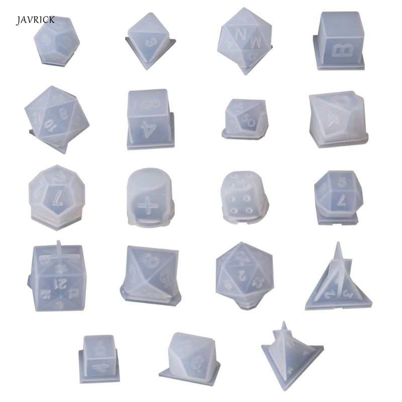 DIY Crystal Epoxy Mold Dice Fillet Shape Multi-spec Digital Game High Mirror Dice Mold Silicone Mould Making