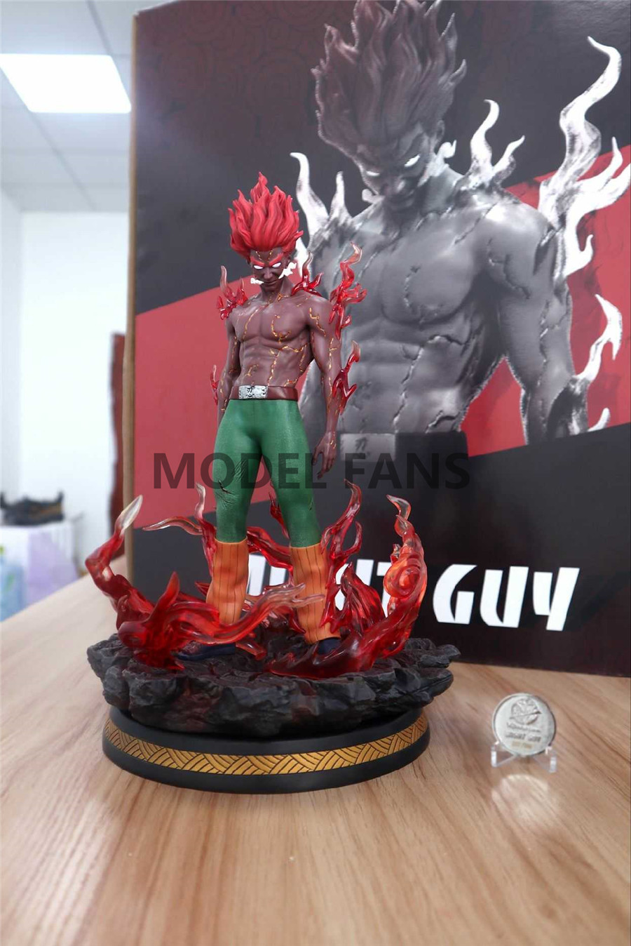 Naruto0 JZ Might Guy Resin Model Figure Painted Statue Dragon Studio Led Light