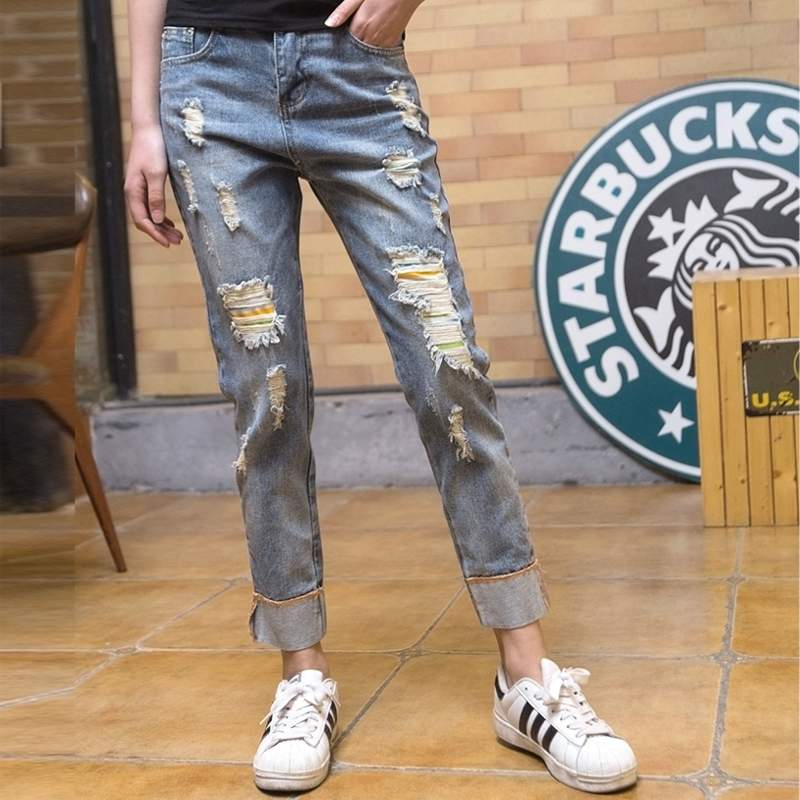 Cheap Wholesale 2019 New Autumn Winter Hot Selling Women's Fashion Casual  Denim Pants  BP73