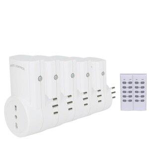 Esplenty tomada inteligente de controle remoto sem fio interruptor luz itália plug (5 soquete + 2 remoto)