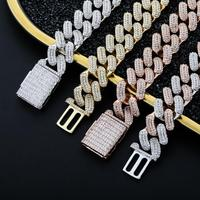 JINAO New Square Style Iced Out CZ Stone 18mm Necklace Hip Hop Jewelry Rock Copper Gold silver Plated For Man Women Gift