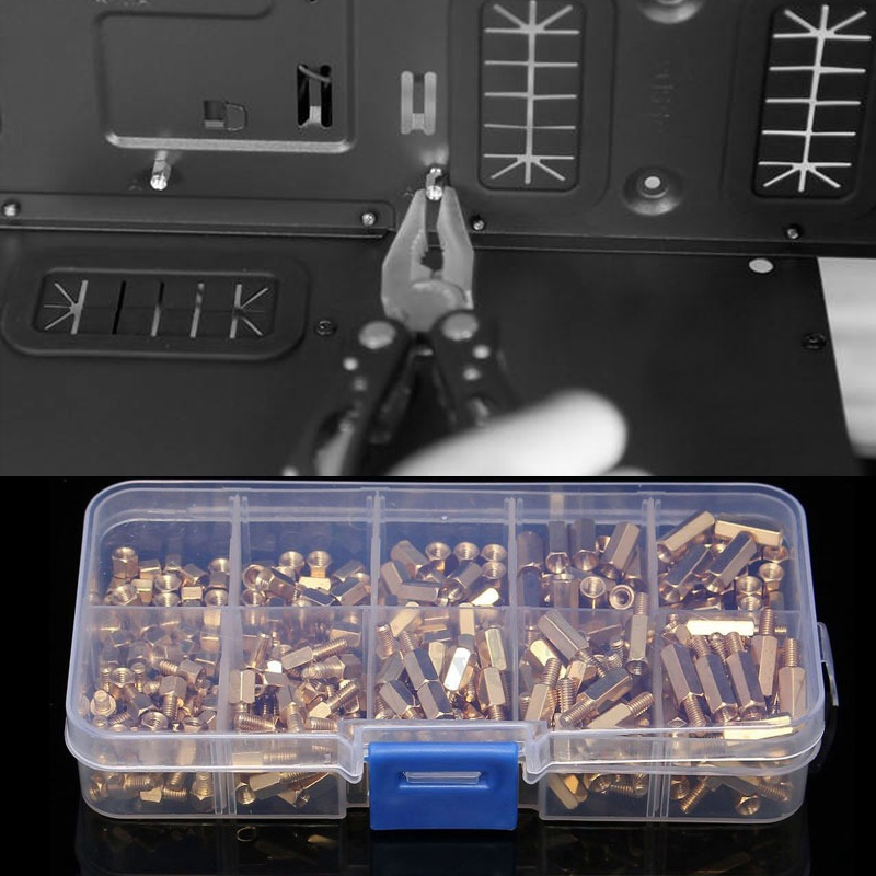 300Pcs M3 Brass Hex Column Standoff Support Spacer Screw Nut Assortment Kit