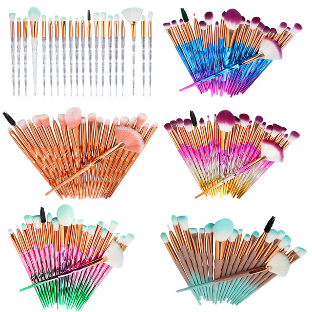 20Pcs Diamond Makeup Brushes Set Powder Foundation Blush Blending Eye shadow Lip Cosmetic Beauty Make Up Brush Pincel Maquiagem
