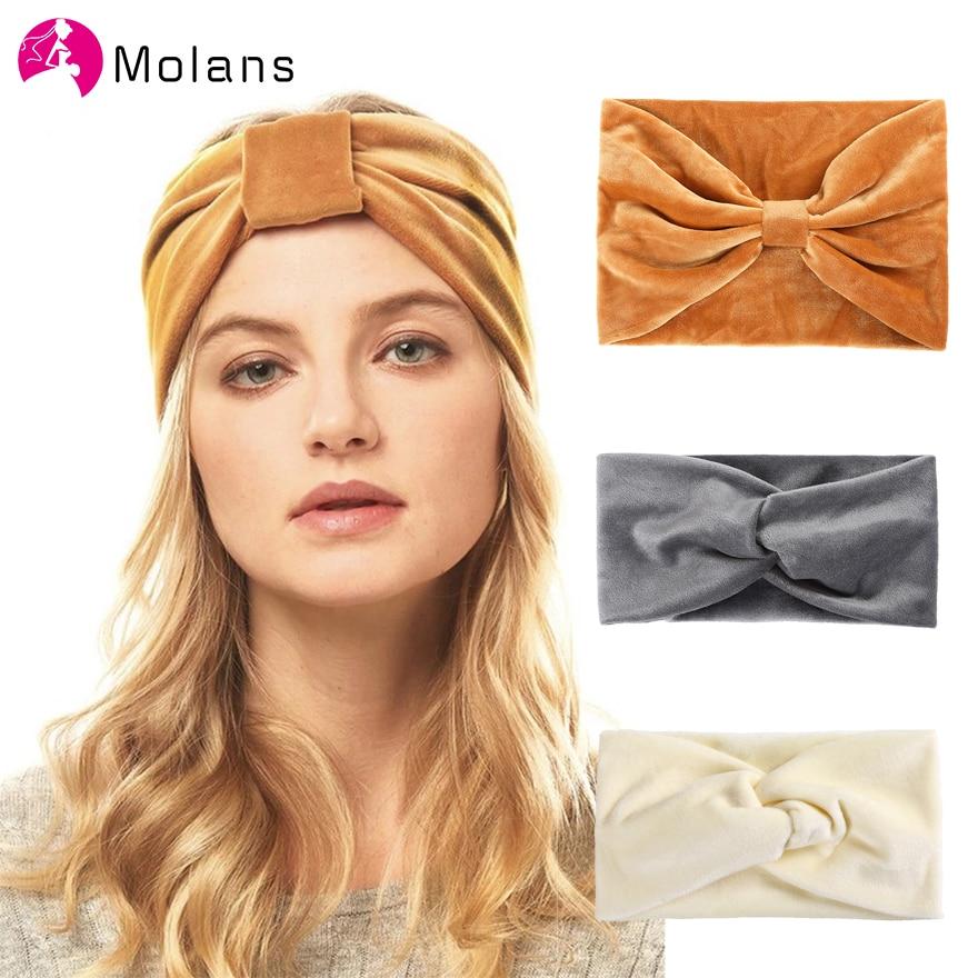 Molans New Autumn Velvet Knot Headbands 9.5cm Solid Cross Knotted Women Hairbands 15cm Wide Bow Elegant Soft Velvet Headbands