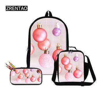 Dropshipping Christmas Day Gifts School Bag Set Kindergarten Boy Girl Shoulder Bookbag Large Capacity Canvas Satchel Knapsacks