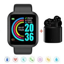 Montre électronique avec moniteur de pression artérielle, pour femmes, hommes et enfants, horloge intelligente D20, bracelet de Sport étanche, ajouter un casque, 2021