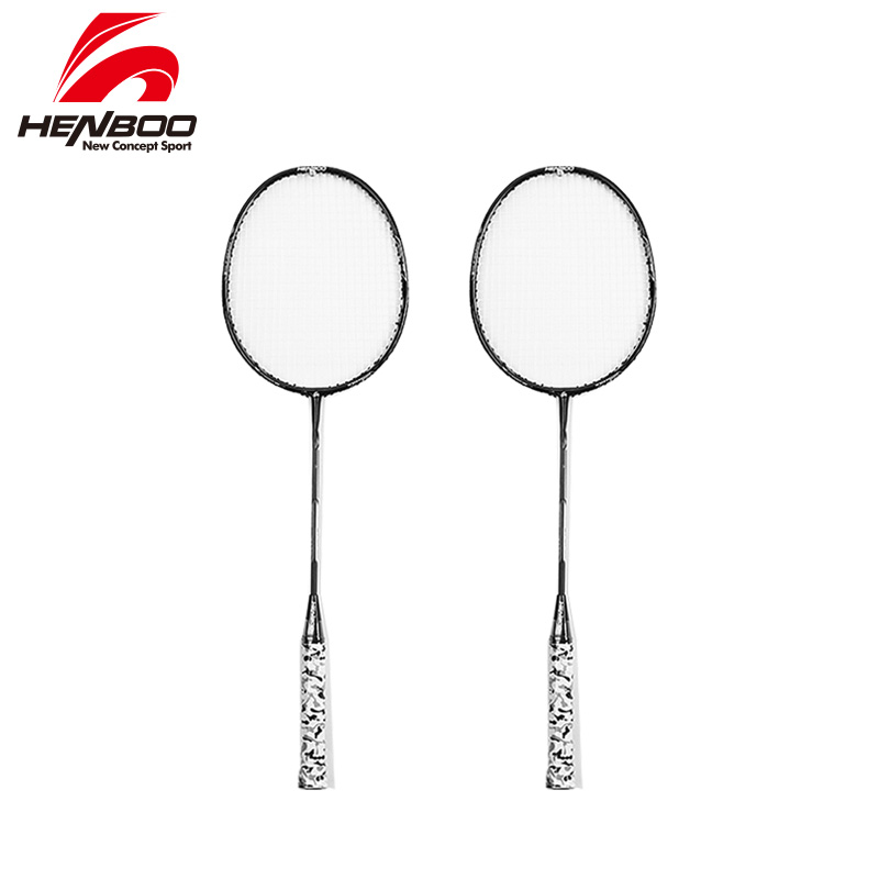 HENBOO 1pair/lot Badminton Racket Standard Use Durable Carbon Iron Alloy Training Racket With Tote Bag Sports Equipment 2329