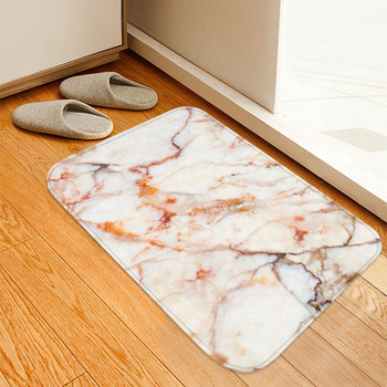 40x60cm Doormat Kitchen Carpet Anti-Slip Nordic Style Marble Map Velvet Rubber Bottom Door Floor Room Dustproof Mats image