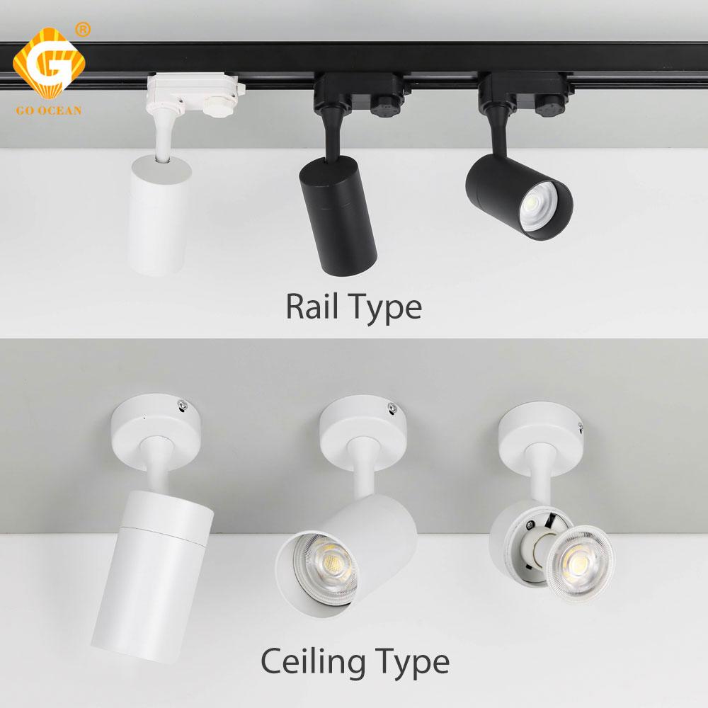 GU10 Ceiling LED Track Light AC Aluminum 2 3 4 Wire Phase Rail Light Market Clothing Store Living Room Spotlights Fixture Shop