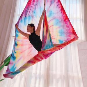 Image 1 - Fitness 5M Luft Fliegen Yoga Hängematte Faric Schaukel Gradational Farben Luft Seide Niedrigen Stretch Anti Schwerkraft Hängematte Für Die yoga
