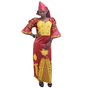 Image 2 - MD Châu Phi Truyền Thống Đầm Nữ Bazin Riche Ankara Đầm Maxi Nigeria Thêu Đám Cưới Dashiki Đầm Headtie Băng Đô Cài Tóc Turban Gọng