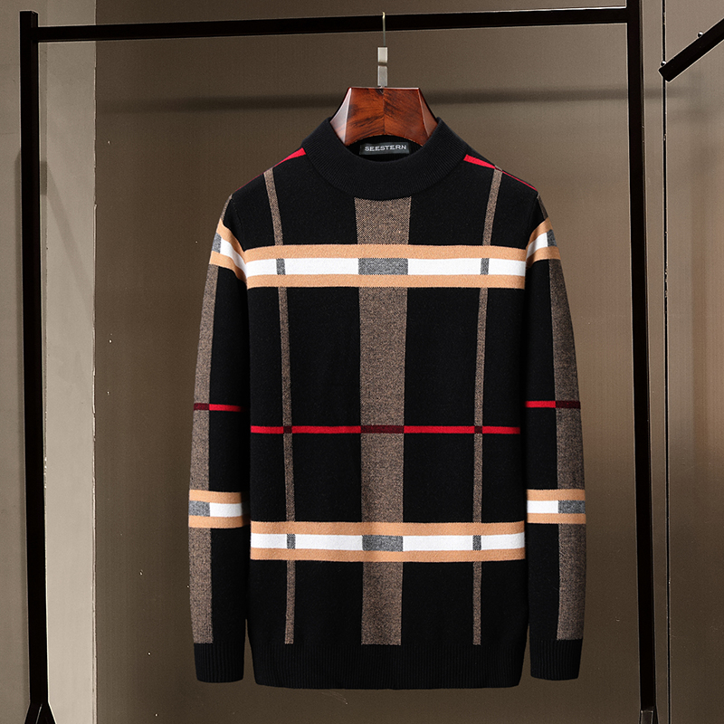 Seestern Brand Men's Sweater Autumn Winter New Striped Plaid Mix Color Fashion Warm Pullover European American Style Casual Tops