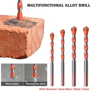 Triangular Handle Multifunctional Drill Bits Ultimate Punching Drill Bits Set for Tile Concrete Brick Glass Plastic Wood 4Pccs