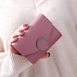 Однотонный Модный маленький женский кошелек, женские роскошные кожаные мини кошельки и кошельки, короткий женский кошелек с держателем для...