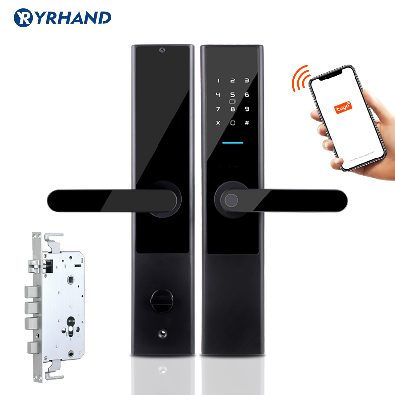 Tuya APP Biometric Fingerprint Door Lock  Wifi Keyless Smart Lock  RFID Card Code Digital Electronic Door Lock  Mortise Lock