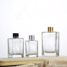 5 шт./компл. 30 мл/50 мл/100 мл квадратная прозрачная Стекло ароматерапия бутылка с золотистым серебристый, черный алюминиевая крышка