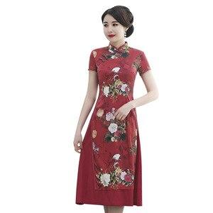 Image 5 - 2020 özel teklif ipek yeni orta yaşlı ve yaşlı Cheongsam geliştirilmiş orta uzun Aodai anneler High end düğün elbisesi toptan