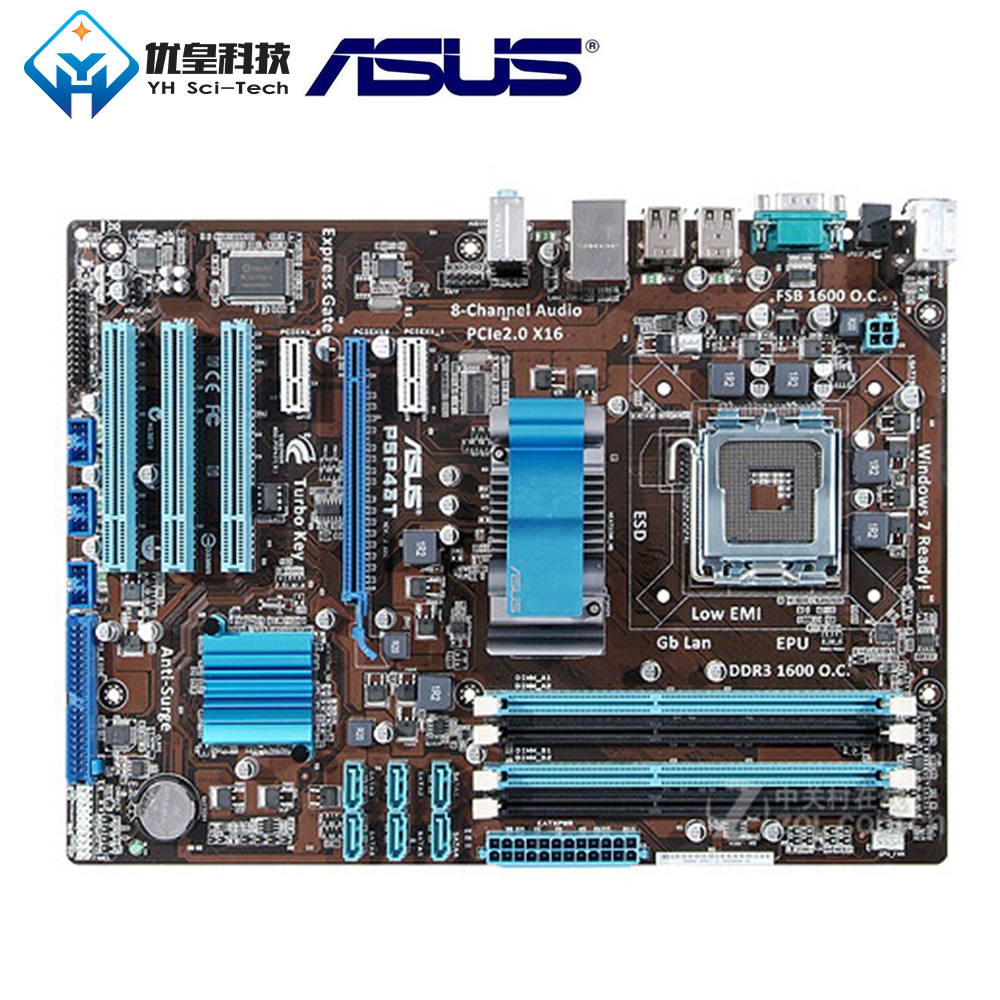 Asus Desktop Socket DDR3 16GB Intel P43 Used ATX P5P43T 775-Core 2-Duo LGA Original