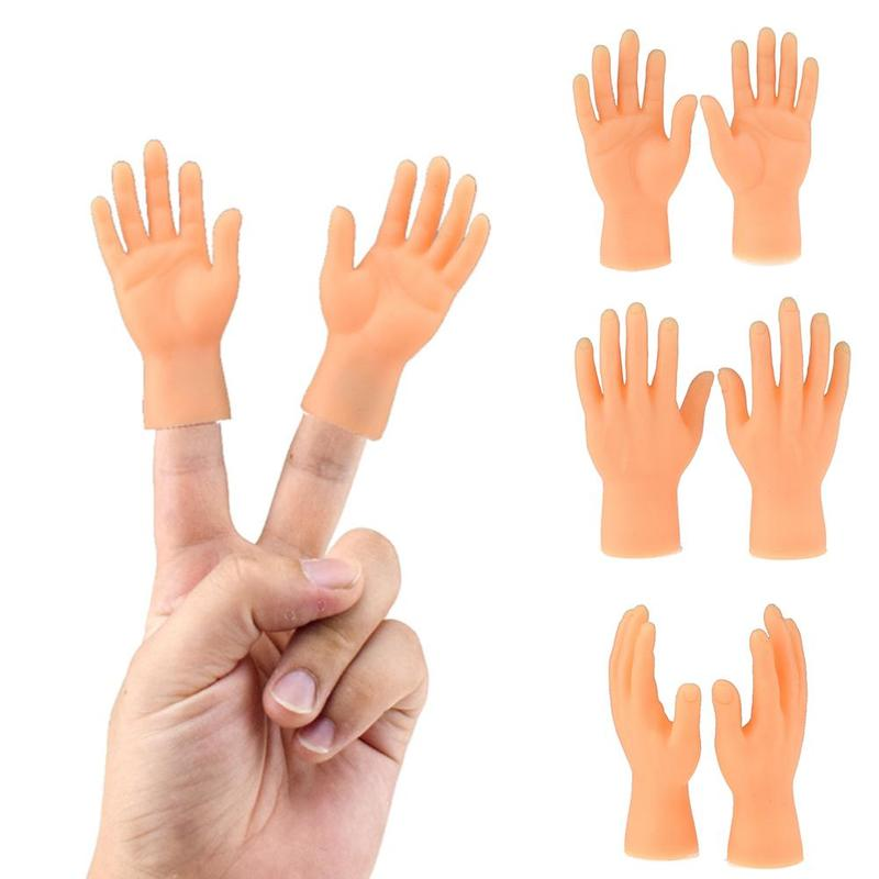 2pcs Silicone Finger Puppets Left Hand Right Hand Halloween Prank Toy Mini Hide And Seek Game Novelty Toy For Kids