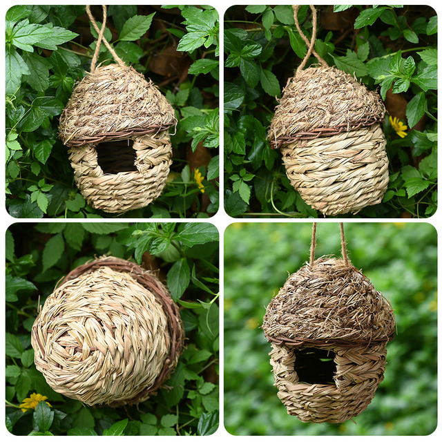5 Styles Birds Nest Bird Cage Natural Grass Egg Cage Bird House Outdoor Decorative Weaved Hanging Parrot Nest Houses Pet Bedroom 5