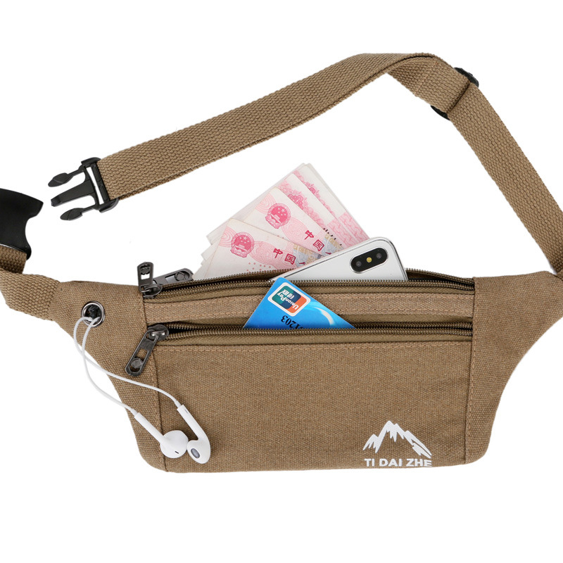 Sports Canvas Waist Bag Men And Women Running Mobile Phone Bag Multi-Function Waterproof Mini Fitness Equipment Small Belt Bag F