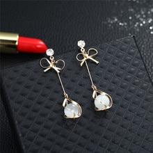 New Korean Crystal Rhinestone Earrings Women's Pendant Earrings Elegant Temperament Fashion Ornaments Brincos elegant decoration acylic rhinestone earrings pendant set pink golden