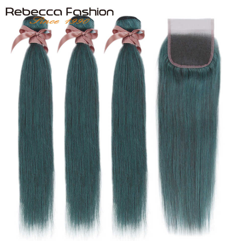 Rebecca S Blue Bundles With Closure Brazilian Straight Remy Human Hair 3 Bundles S Blue With Closure