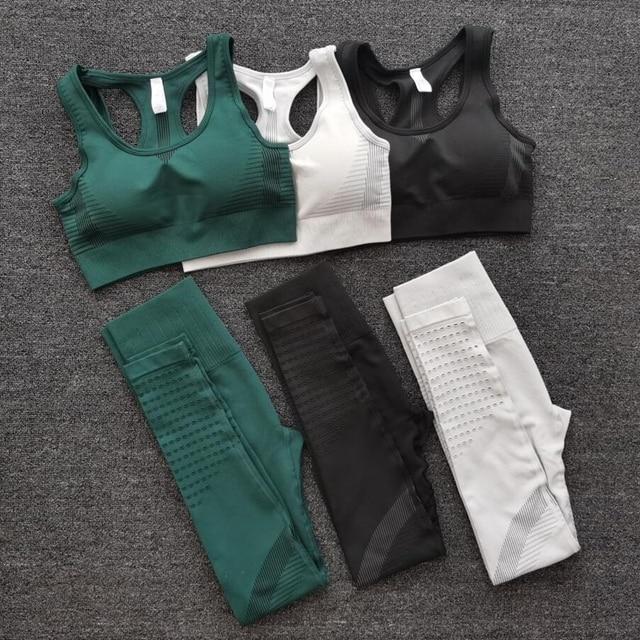 2PCS Sports Suits Women Seamless Yoga Sets Fitness Gym clothing Pants High Waist Straps Sport Leggings High Elasticity Bra Pants
