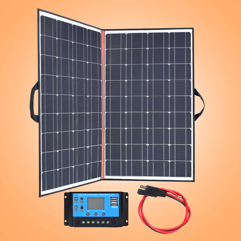 140w foldable solar panel charger 70w*2 Black mono Solar Panels China PV module 12v /24v 10A controller battery solar blanket