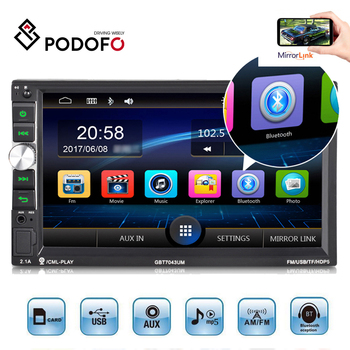 Podofo 2din Car Radio 7'' HD Audio Stereo Multimedia MP5 Player FM Receiver USB Bluetooth Autoradio Support Rear View Camera image