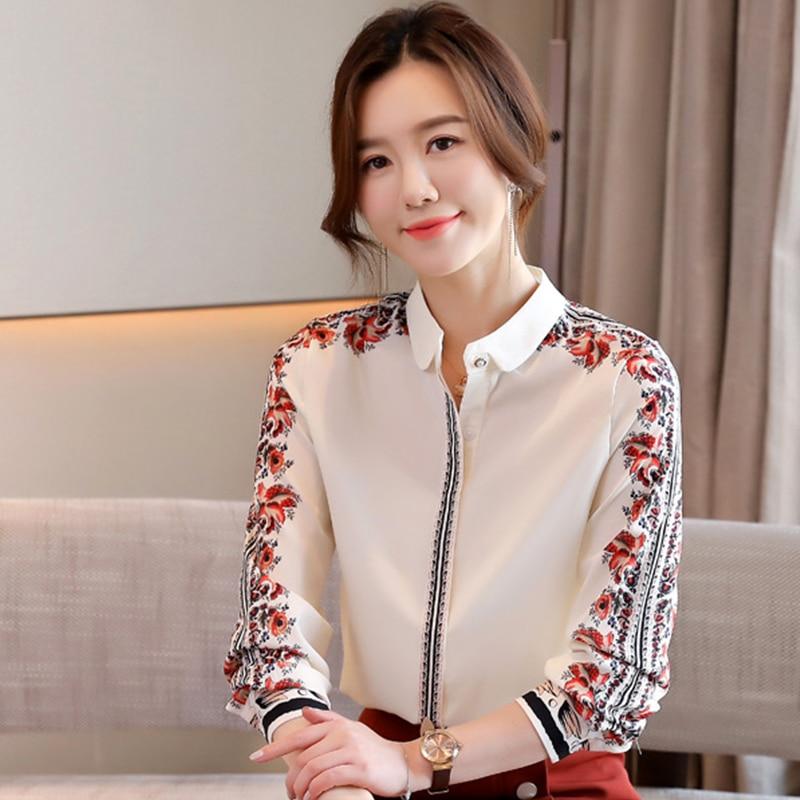 H Han Queen New Office Lady Blusa Vintage Print Tops Simple Elegant Chiffon Women Blouses Korean Chic Long Sleeve Casual Shirts Women Women's Blouses Women's Clothings