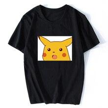 Surprised Pikachu Vaporwave Japanese Cotton Men Cool Anime Pokemon T-shirt  Aesthetic Harajuku Streetwear Camisetas Hombre