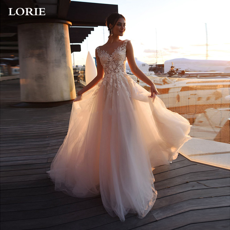 LORIE Beach Wedding Dresses 2019 A Line Lace Princess Bride Dresses With Romantic Buttons Wedding Gowns Vestidos De Novia