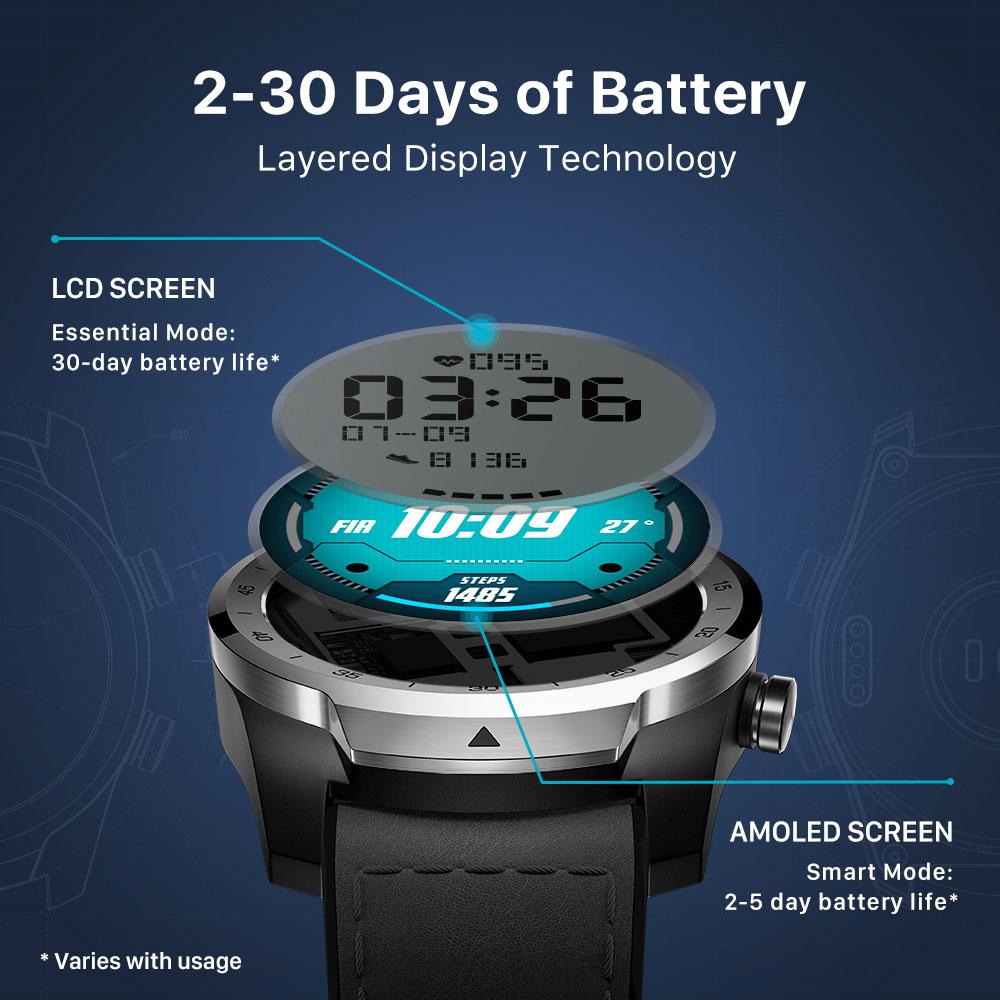 Clearance SaleTicwatch Tracking Heart-Rate-Monitor NFC Dual-Display Sleep Ip68 Waterproof 1GB 1GB-RAM