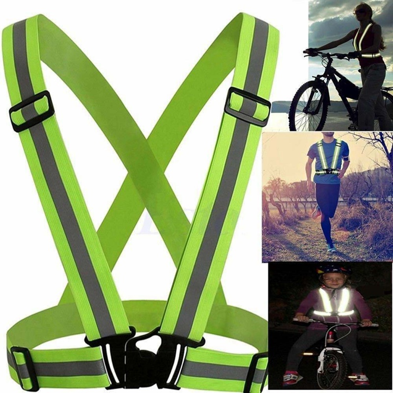 Practical High Visibility Reflective Vest Outdoor Motorcycle Cycling Running Safety Adjustable Durable Clothing