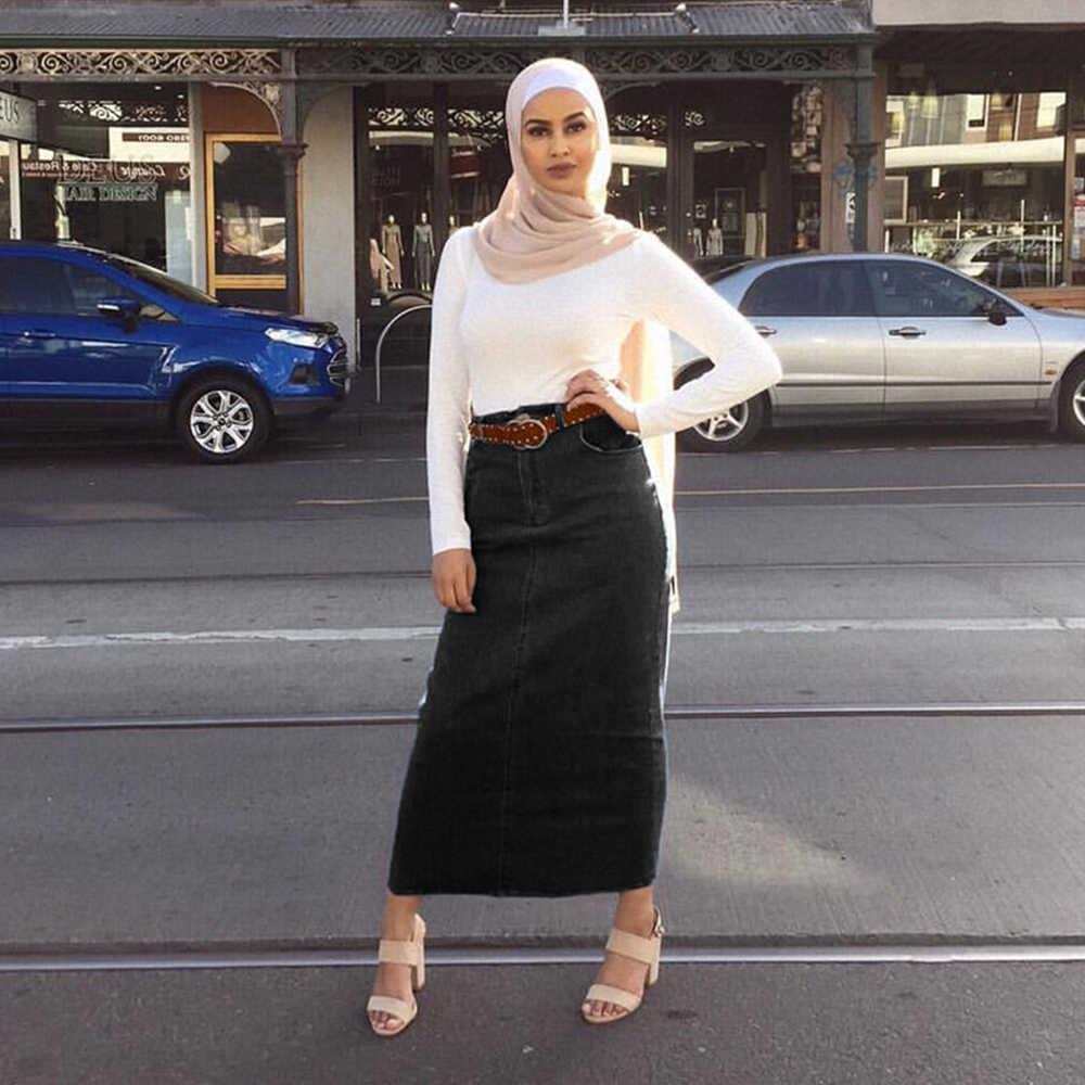 Faldas Mujer Moda 2019 Hoge Taille Lange Denim Rok Vrouwen Casual Jeans Potlood Bodycon Maxi Rokken Jupe Longue Femme Spodnica