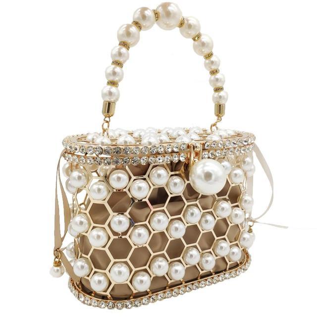 Pearl Beaded Evening Bucket Diamond Clutch  2