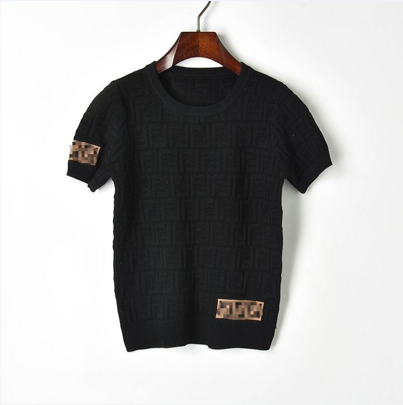 Pick Holes Dark Letters Knitting Short Sleeve + Knitting Bag Hip Elasticity Skirt Suits Female