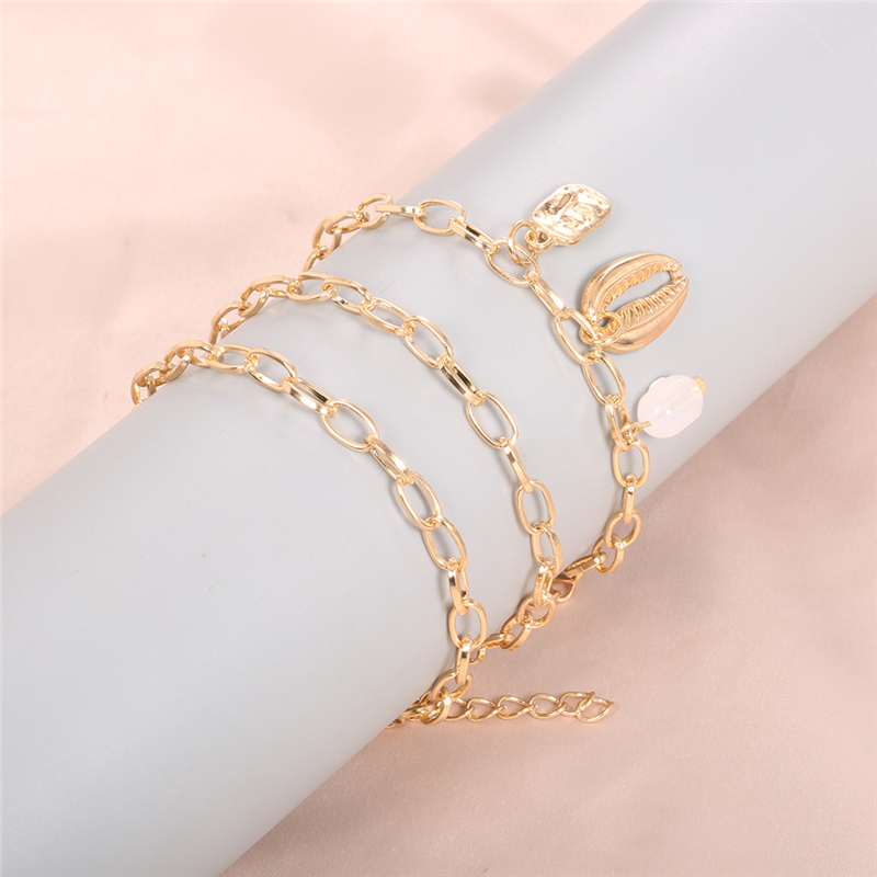 Fashion chain shell ladies bracelet gold round pendant bracelet charm simple white pendant multi layer chain jewelry accessories in Chain Link Bracelets from Jewelry Accessories