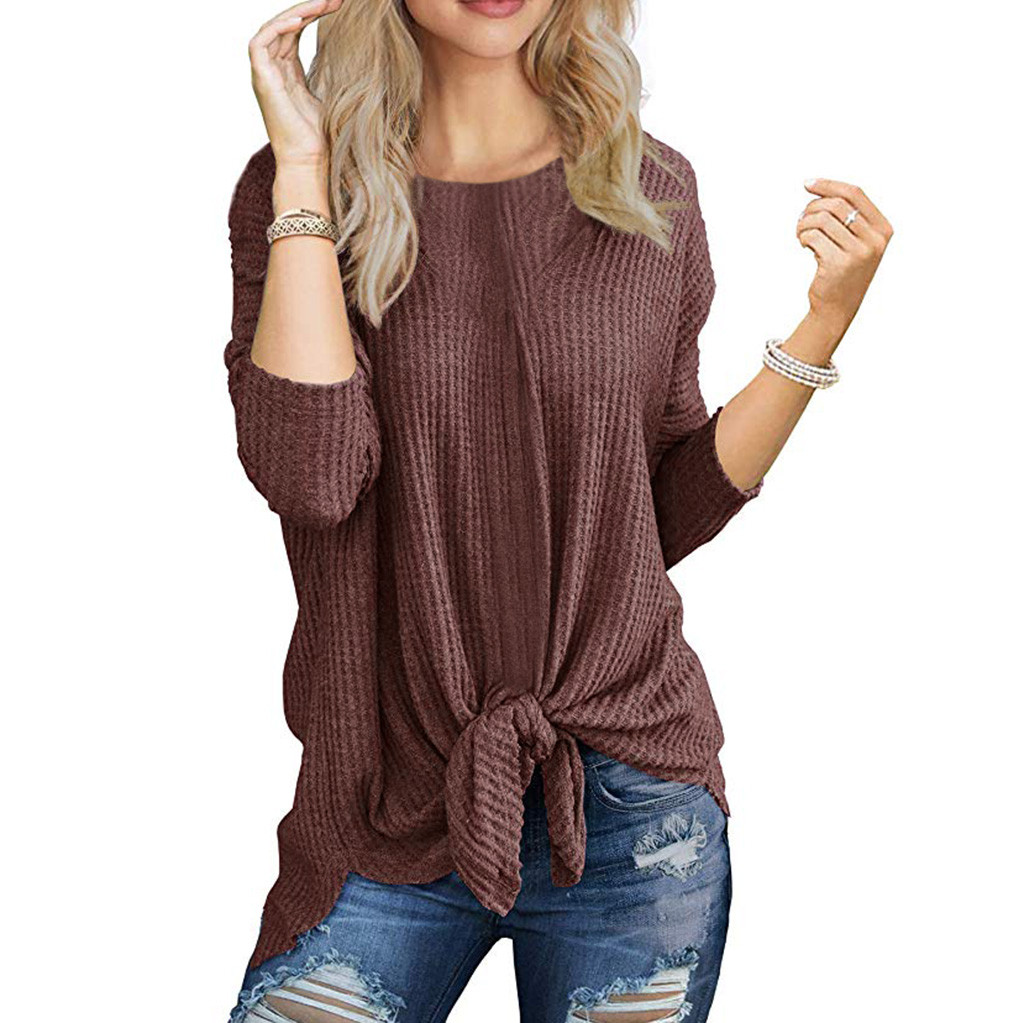 autumn winter sweater women pull femme Casual Tops Long Sleeve Cute Knot Waffle Knit Solid Colors sueter mujer invierno 2020 new