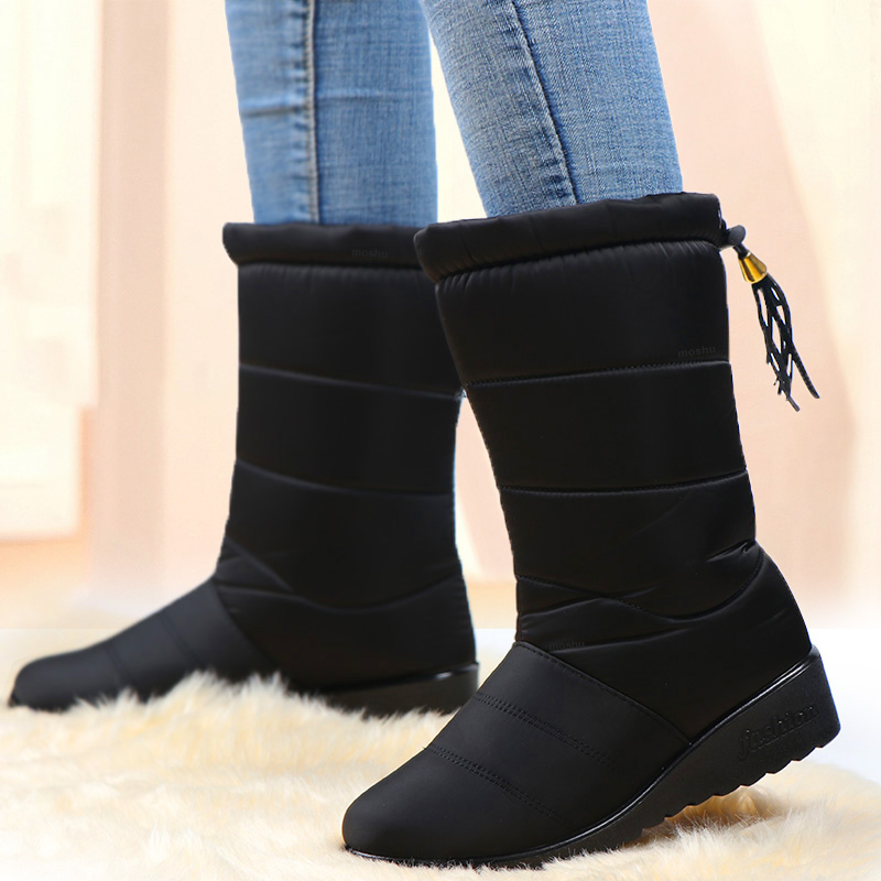 Waterproof Winter Snow Boots Women Ankle Boots Fur Plush Down Shoes Tassel Black Women Booties Fashion Botas Mujer Invierno 2020