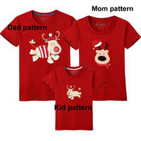 Short Sleeve Family Matching Christmas T-shirt Xmas Red Tops Reindeer Mother Daughter Outfits Cotton Kids Boys New Year Tees