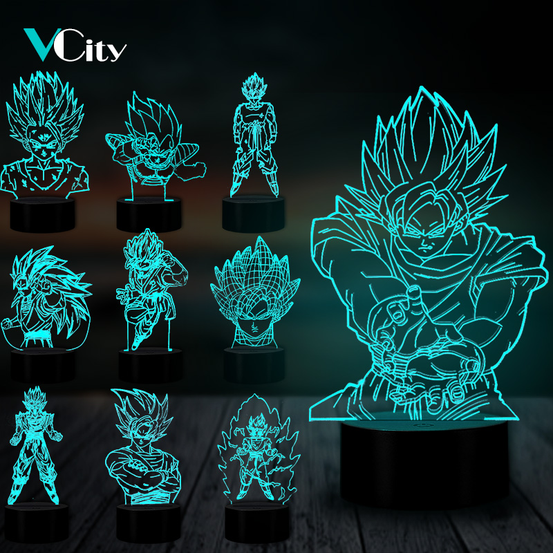 VCity 3D Nightlight Dragon Ball Series Goku Cartoon Figure Touch Remote USB Lamp Atmosphere Lighting Home