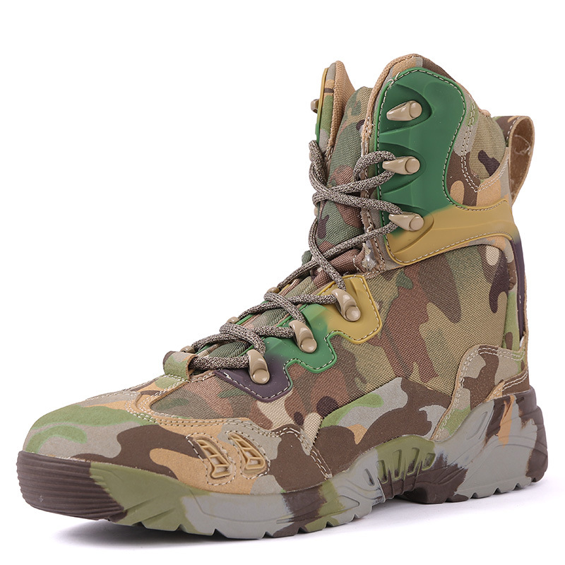 Magnum Camouflaged Male Army Fans Genuine Leather Hight-top Tube Combat Boots Outdoor Spider-Man Desert Boots Combat Boots