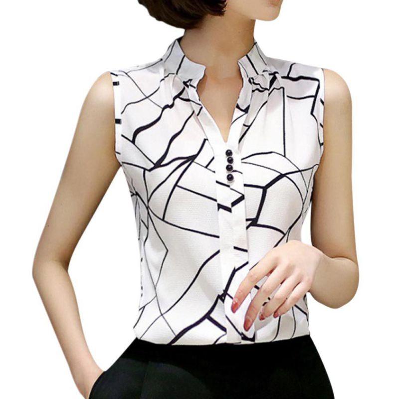 Summer Women Tops Casual Sleeveless V-Neck Fashion Women Blouse Shirt Chiffon Print Blouses Ladies Blusas S-XXL