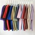 Простая женская футболка, летняя черная, белая, розовая, зеленая, красная, синяя, серая, розовая, фиолетовая, бежевая футболка, базовые корейс...