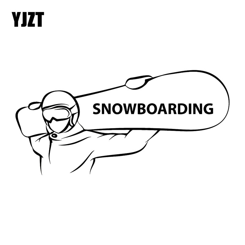 YJZT 17.8CM*8.5CM Snowboarding Extreme Sports Snowboarder Fashion Car-Styling Stickers Decals Motorcycle Black/Silver C31-0068