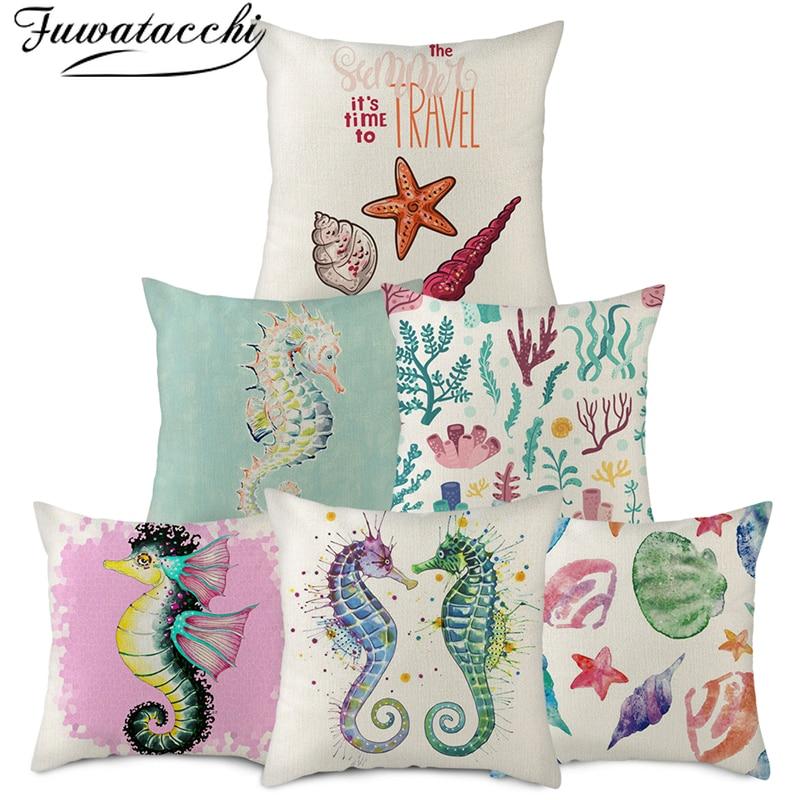 Dolphin//Turtle//Beach Cushion Covers 45x45cm High Quality Cotton//Linen Various