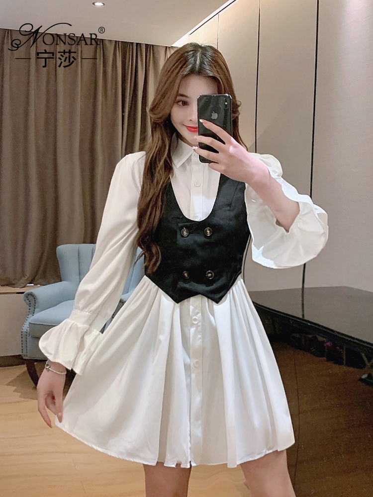 Новинка Весна 2021, модная одежда, юбка, платье-рубашка с длинным рукавом, внешний жилет в западном стиле, костюм из двух предметов, женская мод...